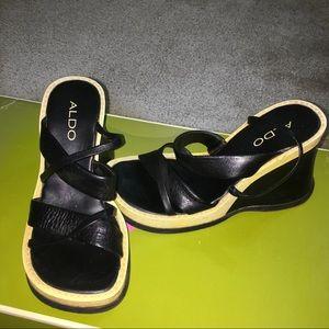 black open toe wedges